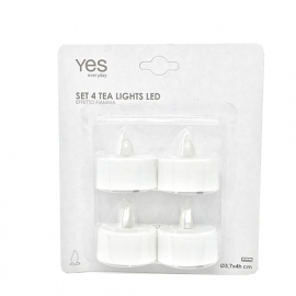 Set 4 candele led Tea lights Mis. 3,7x4h con Batteria