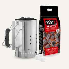 KIT CIMINIERA DI ACCENSIONE Kit accenditore 2kg briquettes, pastiglie accensione - Set ciminiera d'accensione Rapidfire