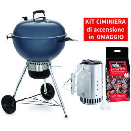 Barbecue a carbone Master-Touch GBS C-5750 - 57 cm Slate Blue con KIT CIMINIERA
