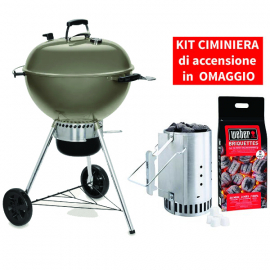 Barbecue a carbone Master-Touch GBS C-5750 - 57 cm Smoke grey con KIT CIMINIERA