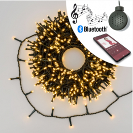 CATENA LUMINOSA MT 30,5 CON 600 LED CON BLUETOOTH E SPEAKER MUSICA COLORE BIANCO CALDO