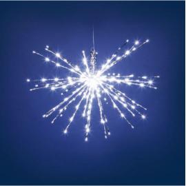 TWIG BALL ARGENTO 200 LED DIAMETRO CM 60 BIANCO GIOCO DI LUCE FLASH DIAMOND, TIMER, INTERNO/ESTERNO, RAMO STELLA