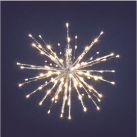 TWIG BALL ARGENTO 80 LED DIAMETRO CM 30 BIANCO CALDO GIOCO DI LUCE FLASH DIAMOND, TIMER, INTERNO/ESTERNO, RAMO STELLA