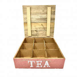 SCATOLA TEA LOVE 9 POSTI CM 24 X 24 X 8H
