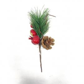 Ramo di pino glitterato con pigna e bacche cm 21 h