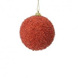 sfera 8 cm rossa con glitter