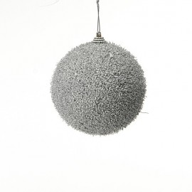 sfera 10 cm argento con glitter