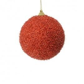 sfera 10 cm rossa con glitter