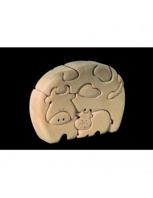 PUZZLE 3D  FAMIGLIA BOVINA in legno intagliato