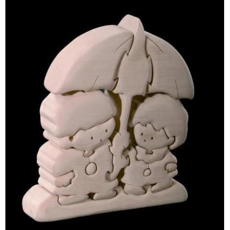 PUZZLE 3D PIOVE in legno intagliato