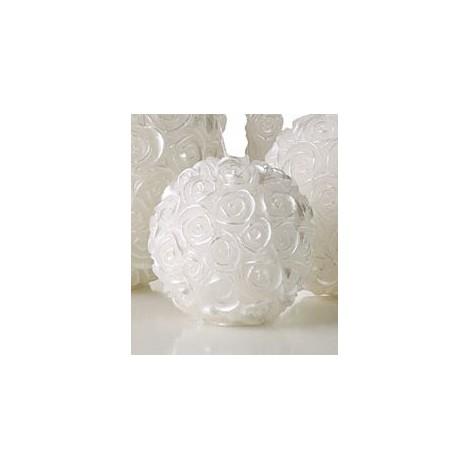 Candela Sfera Roselline Dia 8,5 cm Bianco Perlato