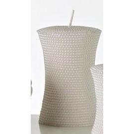Candela Moccolo Microsfere Dia 7,5 x 11 cm Bianco Perlato