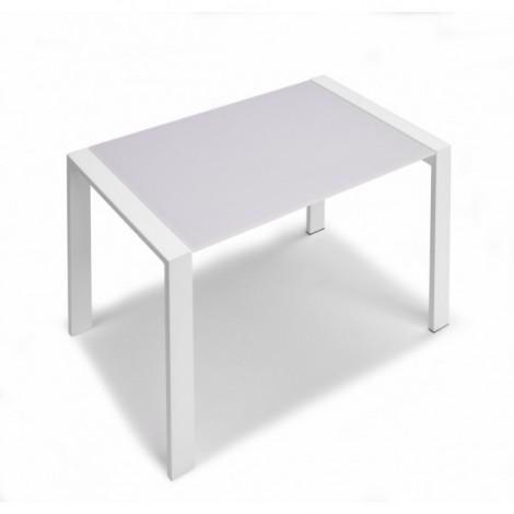 Zoom tavolo allungabile in cristallo e acciaio cm 70 x 110 50 x h 75 cits shop - Tavolo cristallo allungabile ...