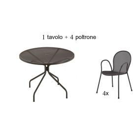 Tavolo Cambi cm Diam. 106 con 4 Poltrone Ronda