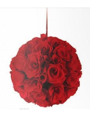 sfera roselline legno rosse diametro 11 cm