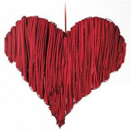 Cuore Rattan Rosso Naturale 15 Cm