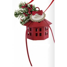 mini lanterna metallica rossa esagonale cm 8 decoro bacche rosse