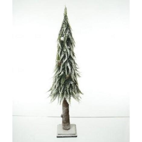 Albero  abete slim cm 65  con neve e pigne