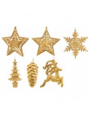 Assortiti Addobbi Glitter Oro Cm. 10-15