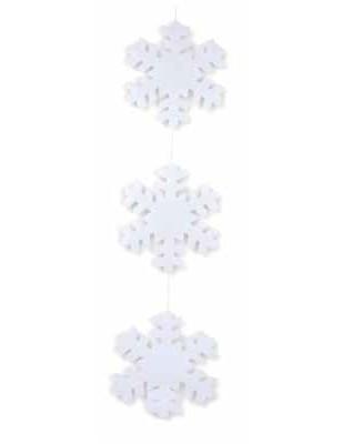 catena 3 FIOCCHI DI NEVE OVATTATI Ø 30 cm. x addobbo, tot. cm.120 h