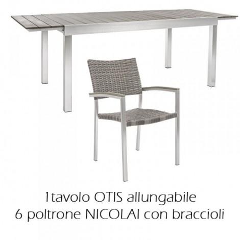Tavolo Otis Allungabile 164/225 x 90 Completo di 6 Sedute NICOLAI