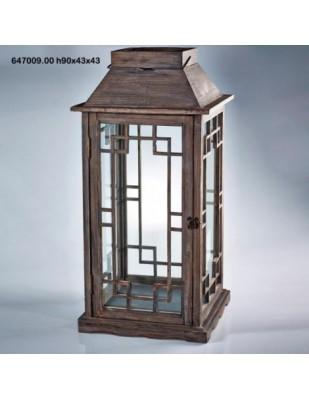 Lanterna Cedar C/ferro H90 43x43 marrone