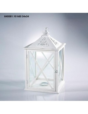 Lanterna Cedar C/ferro H60 34x34 bianca