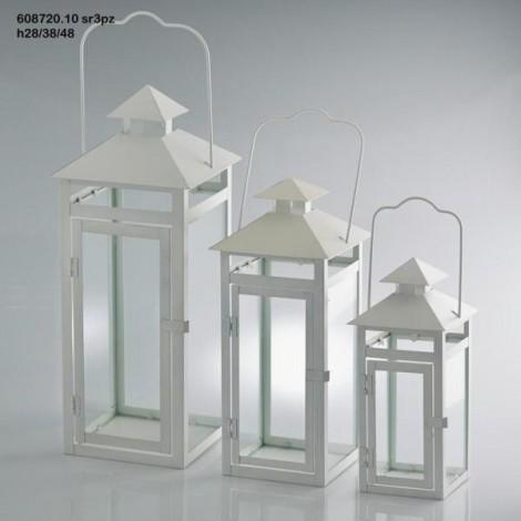Lanterna metal quadrata piccola h 28 cm bianca cits shop for Lanterne bianche