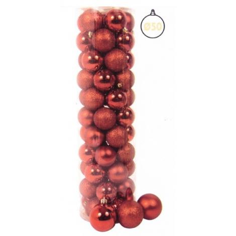 Cilindro 55 Sfere ø 50 Mm Rosso Glitter, Metallizzate, Satinate