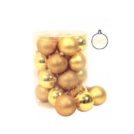 Cilindro 20 Sfere ø 80 Mm Oro Glitter, Metallizzate, Satinate