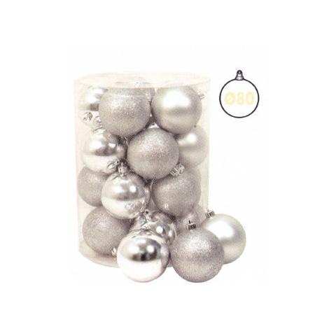 Cilindro 20 Sfere ø 80 Mm Argento Glitter, Metallizzate, Satinate